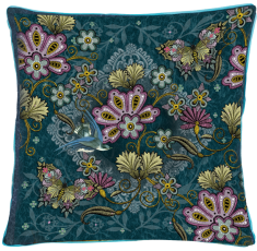coussin broderie fleurs