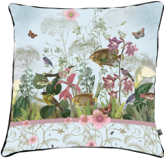 velvet cushion, flowers,