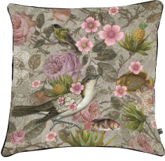 velvet cushion, flowers,birds paradise