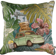 velvet cushion Fiat 500, vintage car, holidays