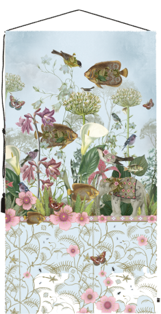 wall tapestry, birds, elephant, flowers