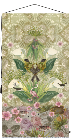 wall tapestry, birds, art deco, flowers