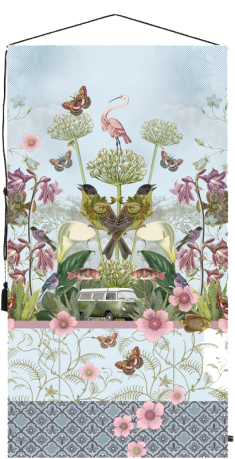 wall tapestry, birds, vintage car, flowers