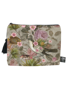 toiletry bag, birds paradise, exotique